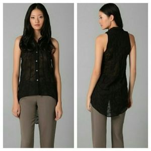 Helmut Lang Hi Lo Sleeveless Button front top